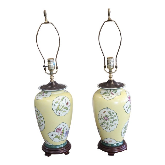 Early 20th Century Chinese Yellow Lamps - a Pair For Sale
