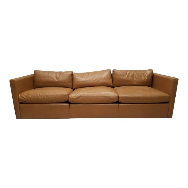 1970s Vintage Knoll Pfister Brown Leather Sofa For Sale