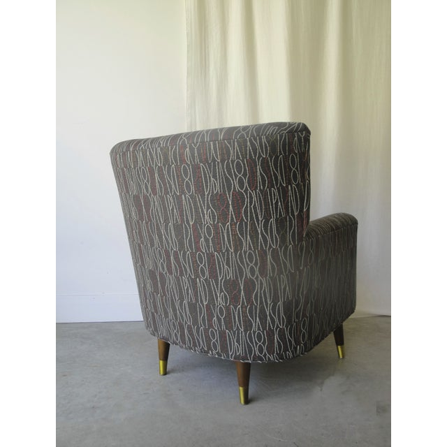 Brown Retro Print Modern Lounge Chair - Image 3 of 6