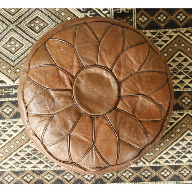 Vintage Brown Leather Floor Pouf - Image 4 of 7