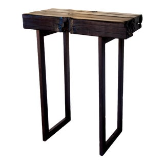 Rustic Shou-Sugi-Ban Black Console Table For Sale