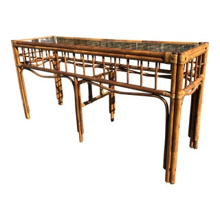 1970s Boho Chic Rattan Console For Sale
