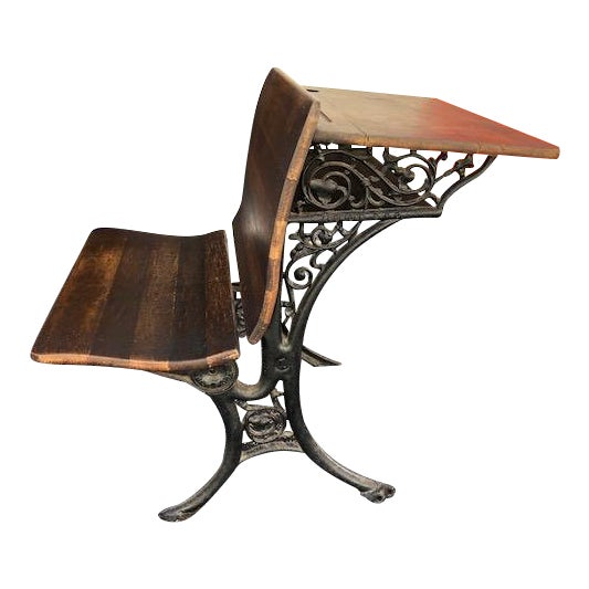 Antique Child's School Desk With Folding Chair - Antique Child's School Desk With Folding Chair