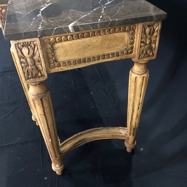 French Louis XVI Style Console Table With Marble Top For Sale - Image 9 of 13