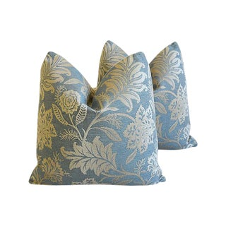 "Gp & J Baker Lismore Damask Feather/Down Pillows 21"" Square - Pair For Sale"