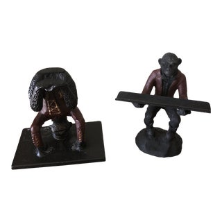 Bronze Monkey Pen/Business Card Holder - a Pair For Sale