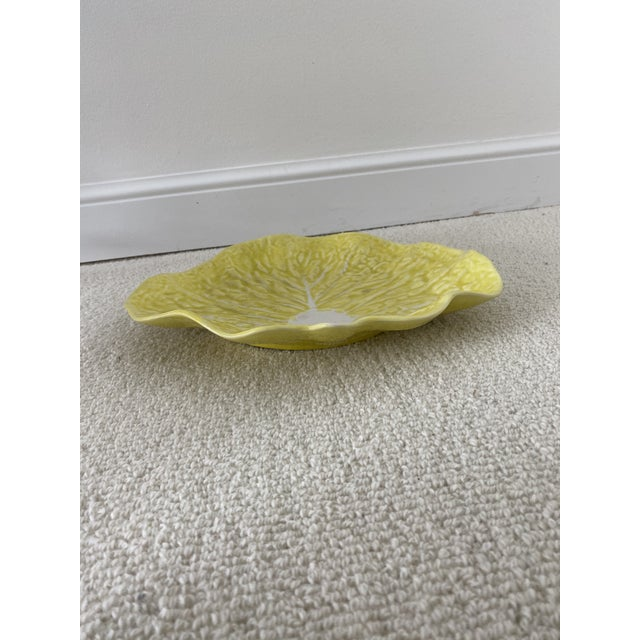 Mid-Century Modern Yellow Cabbage Leaf Serving Dish For Sale - Image 3 of 6