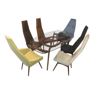 1960s Mid-Century Modern Adrian Pearsall Dining Set - Table and 6 Chair For Sale
