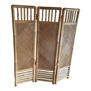 Vintage Tall Hawaiian 3 Panel Woven Double Sided Bamboo Privacy Screen - Made in Hawaii For Sale