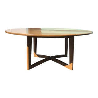 Mid-Century Oak Wood Inlay X Base Dining Table or Card Table