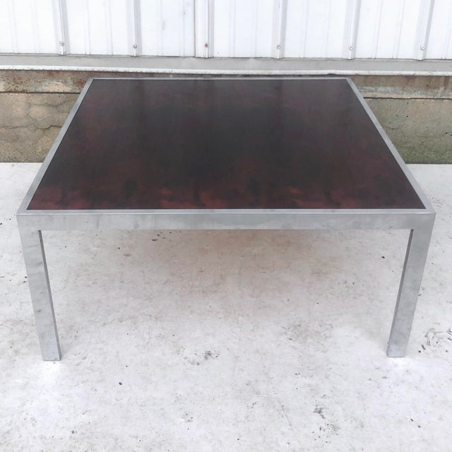 Silver Vintage Modern Rosewood and Chrome Coffee Table For Sale - Image 8 of 13
