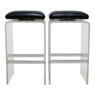 Charles Hollis Jones Style Lucite Waterfall Swivel Bar Stools - A Pair