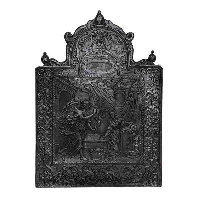 17th C. Antique Fireback Annunciation To The Blessed Virgin Mary For Sale