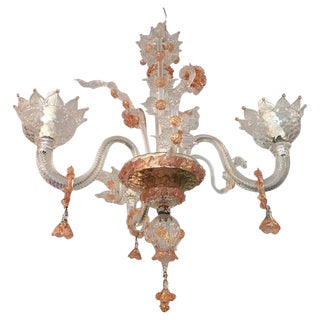 1980s Pink and Clear Floral Murano Glass Chandelier For Sale
