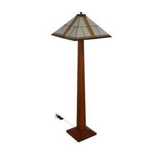 Stickley Mission Collection Cherry Square Base Floor Lamp With Art Glass Shade For Sale