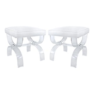 Vintage Lucite Stools With Upholstered Seats - a Pair For Sale