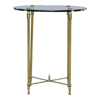 French Mid-Century Neoclassical Style Brass and Glass Side Table For Sale