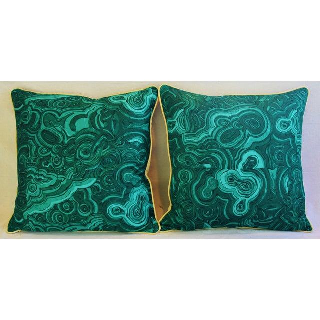 "24"" Tony Duquette-Style Jim Thompson Malachite Feather/Down Pillows - Pair - Image 3 of 6"