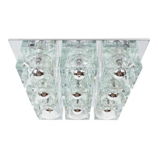 Mid-Century Modernist Glass Cube Flush Mount Chandelier by Sciolari in Chrome For Sale