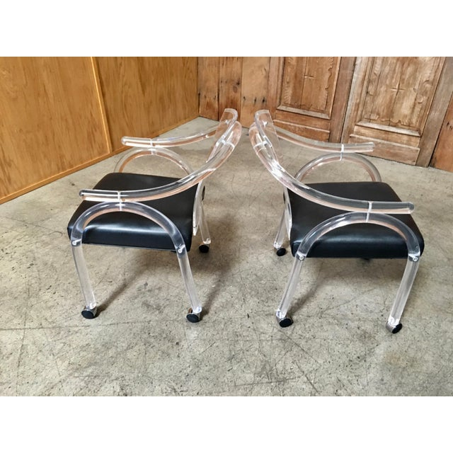 Black Vintage Mid Century Sculptural Lucite Dining Chairs- Set of 8 For Sale - Image 8 of 13