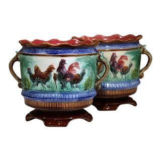 19th Century French Hand-Painted Barbotine Cache Pots With Chicken - A Pair For Sale