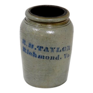 Late 19th Century Antique Southern American Stoneware Storage Jar For Sale