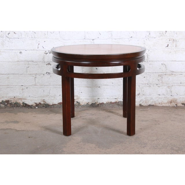 1970s Michael Taylor for Baker Furniture Chinoiserie Teak and Mahogany Side Table For Sale - Image 5 of 8