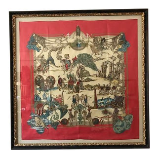 Hermes French Silk Scarf Framed Art For Sale