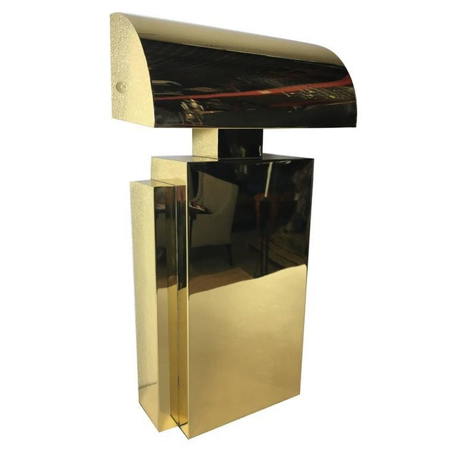 Brass Karl Springer Style Brass Tabel Lamp For Sale - Image 7 of 7