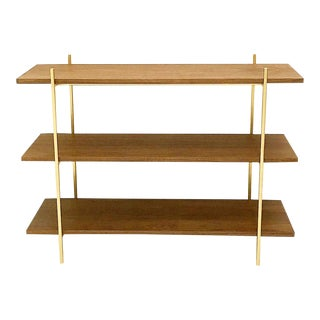 Walnut & Gold Low Book Shelf For Sale