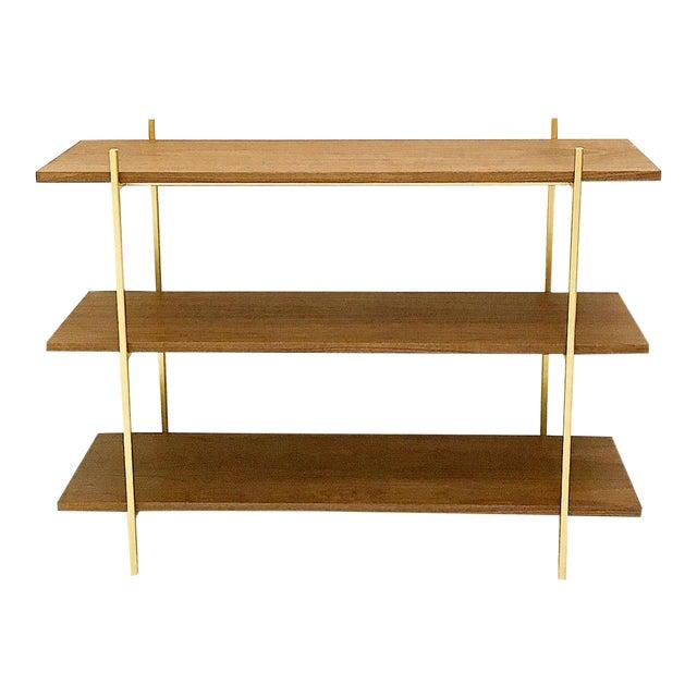 Walnut & Gold Low Book Shelf For Sale