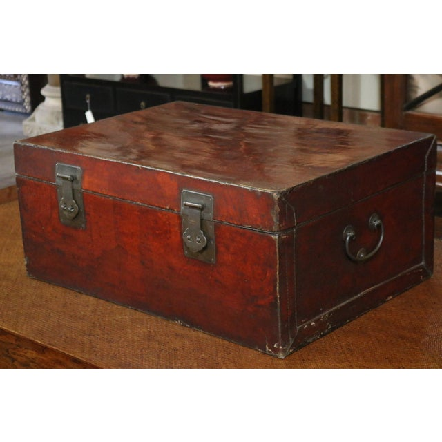 Chinese Leather Trunk For Sale - Image 4 of 8