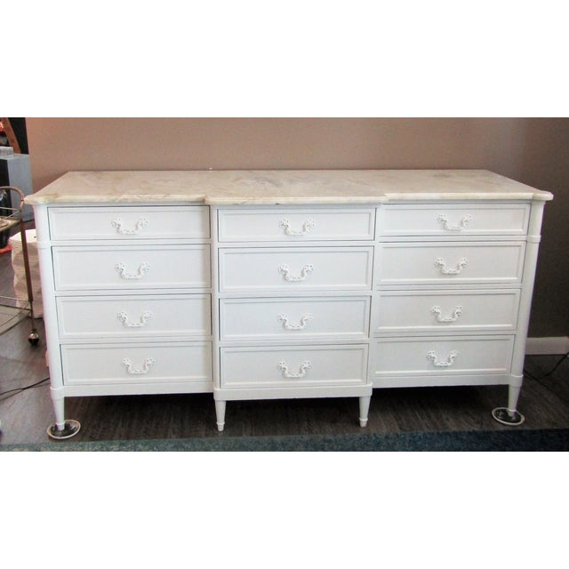 Tan 1970s Mid-Century Modern 12- Drawer Marble Top Chest For Sale - Image 8 of 8