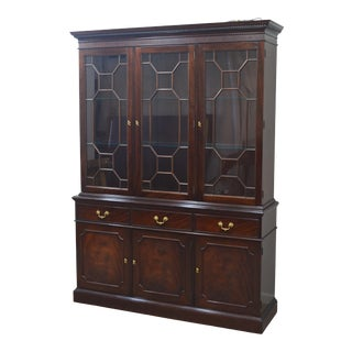 Stickley Mahogany 2 Pc China Cabinet Breakfront For Sale