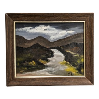 Vintage Folk Oil Landscape Signed Jl With Wood Frame