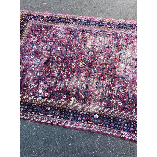 Islamic Large Early 20th Century Antique Persian Distressed Handmade Rug For Sale - Image 3 of 12