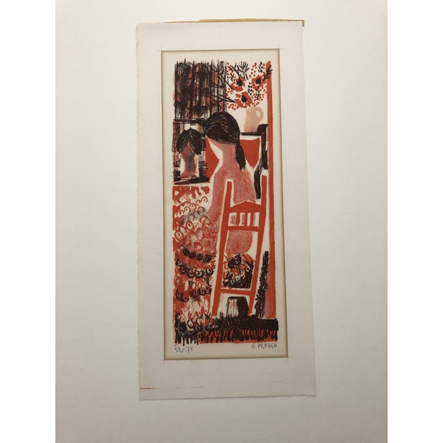 Lady in an Interior Color Woodcut 1960s For Sale - Image 9 of 9