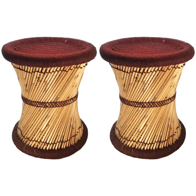 Natural Geo Moray Decorative Brown Accent Stools - A Pair - Image 1 of 2