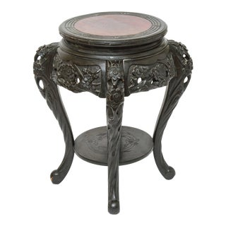 Art Nouveau Style Japanese-Export Carved Wood Side Table or Plant Stand For Sale