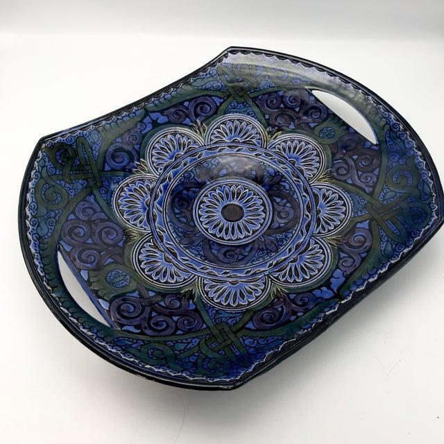 Blue Vintage Safi Moroccan Terra Cotta Platter For Sale - Image 8 of 8