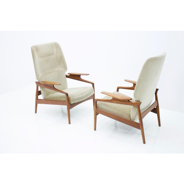 Pair of Reclining Teak Lounge Chairs by John Boné, Denmark 1960s For Sale - Image 10 of 11