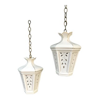 1960s Mid-Century Palm Beach Chic, Chinoiserie, White Ceramic Pendant Light Fixtures - a Pair For Sale