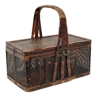 19th Century Antique Chinese Cricket Basket For Sale
