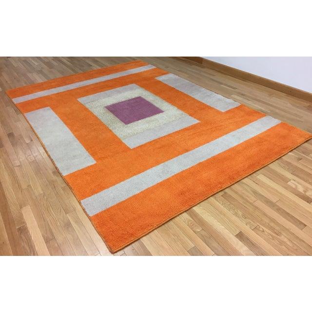 Vintage Belgian Geometric Pop Art Orange Elementa 80 Wool Rug - 6′6″ × 9′10″ - Image 3 of 8