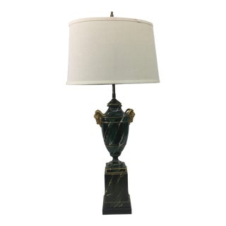 1940s Restored Ormolu Ram Head Table Lamp For Sale