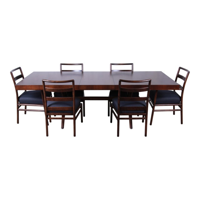 Robsjohn Gibbings for Widdicomb Mid-Century Modern Walnut Dining Set For Sale