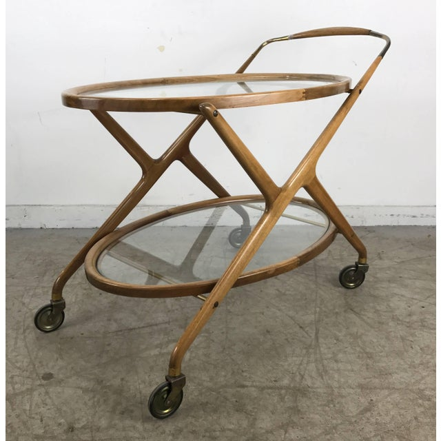 Mid 20th Century Cesare Lacca 1960s Bar Cart With Glass Shelves and Brass Details For Sale - Image 5 of 8