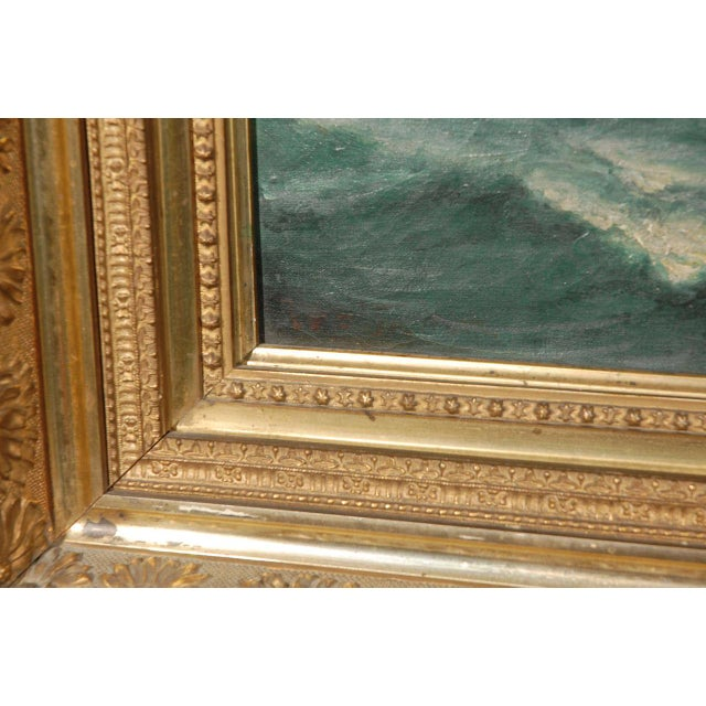 19th Century Signed American Oil Painting of a Ship at Sea For Sale In Los Angeles - Image 6 of 10
