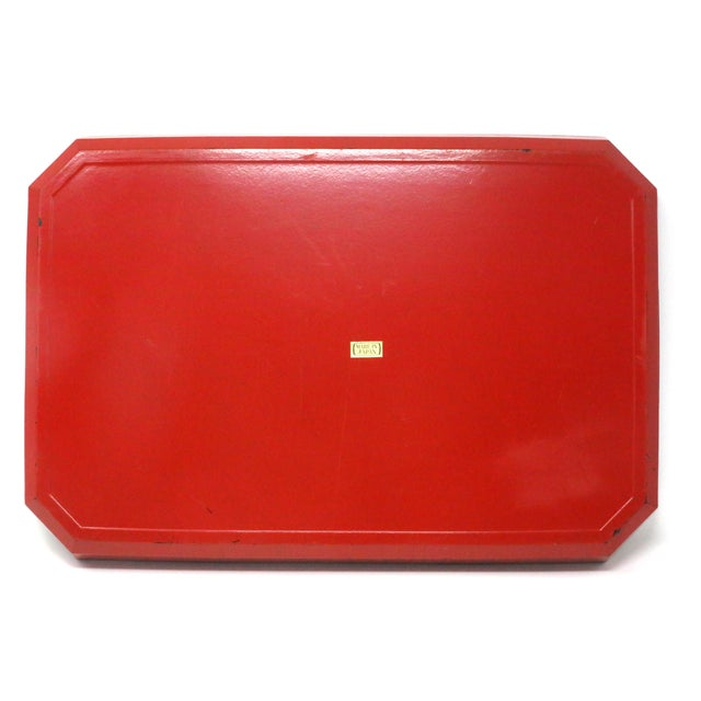 Vintage Japanese Red Lacquered Tray For Sale In Tampa - Image 6 of 10