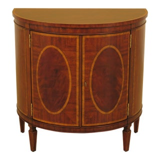 Federal Maitland Smith 1/2 Round Mahogany Server Commode For Sale